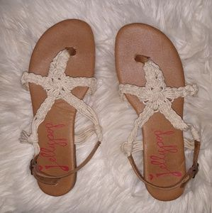 Jelly Pop tan and cream sandles